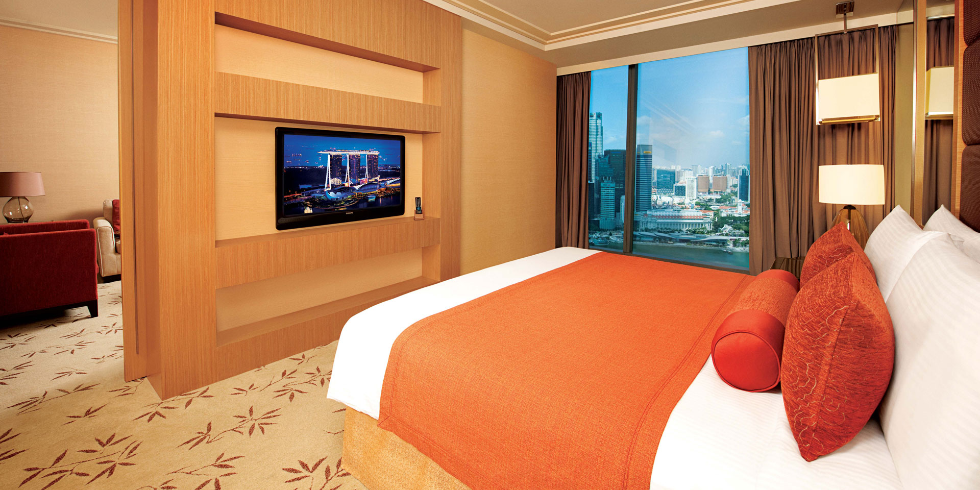 Orchid Suite Bedroom at Marina Bay Sands with King Bed and City View