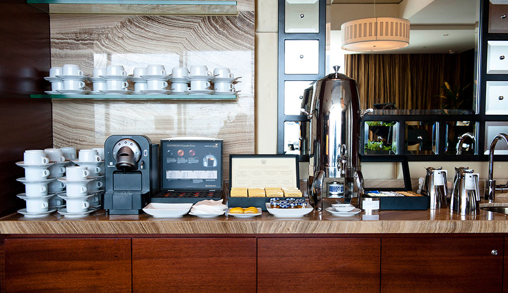 Hospitality suite coffee bar set up at MBS