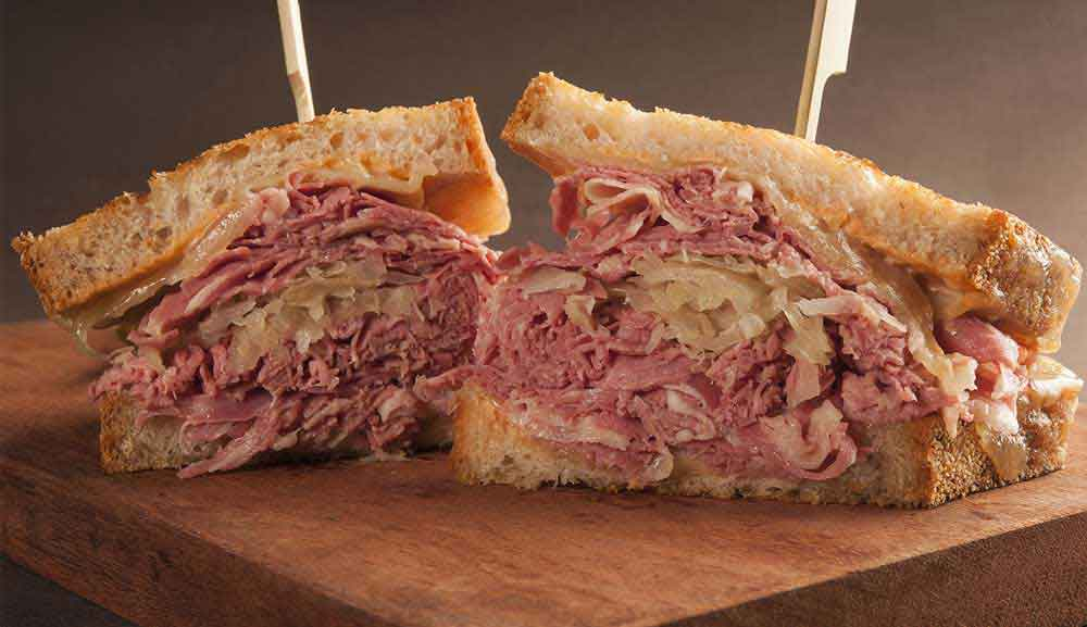 SweetSpot Corned Beef, Swiss Cheese, Russian Dressing and Sauerkrau on grilled rye
