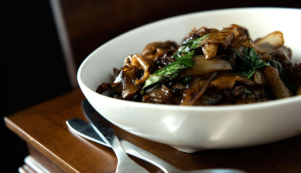 Charred Rice Noodles with Beef, Onions and Thai Basil