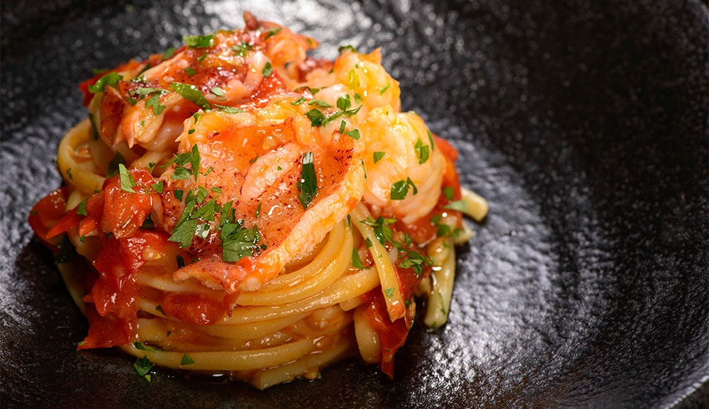Waku Ghin-Spaghetti with Lobster, Tomato, Chilli and Basil, available at The Bar