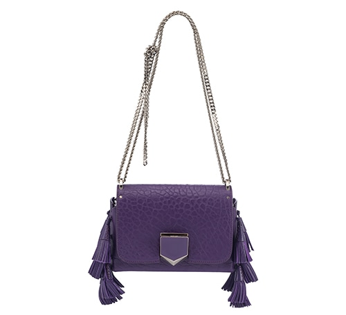 Jimmy Choo - LOCKETT PETITE Iris Grainy Leather Shoulder Bag with Tassels at Marina Bay Sands