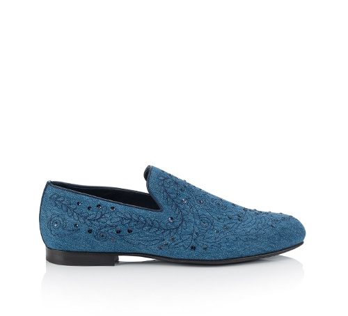 Jimmy Choo - SLOANE Ocean Blue Embroidered Denim Loafers at Marina Bay Sands