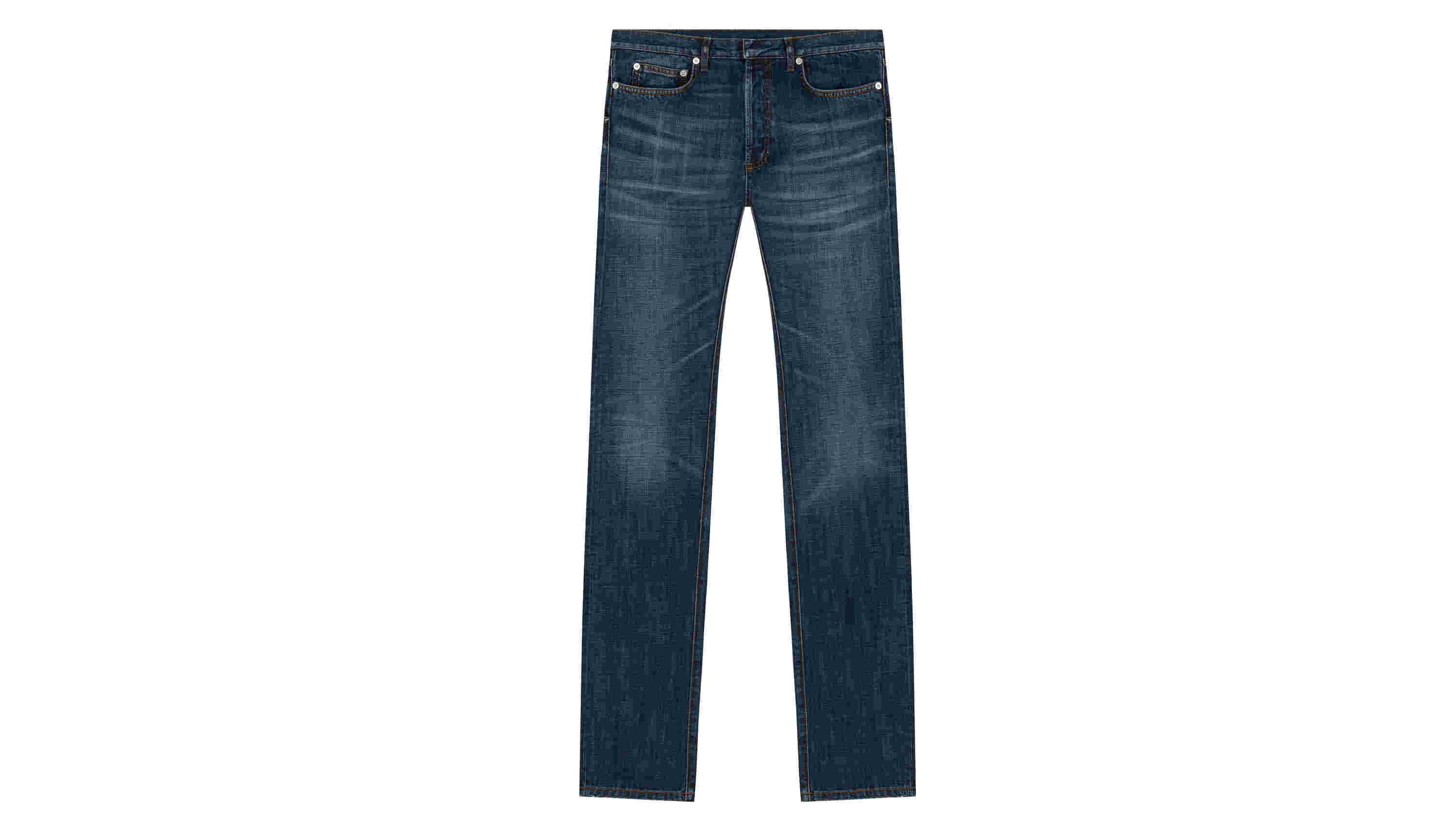 Jean in Natural Fade Effect Blue Cotton Denim
