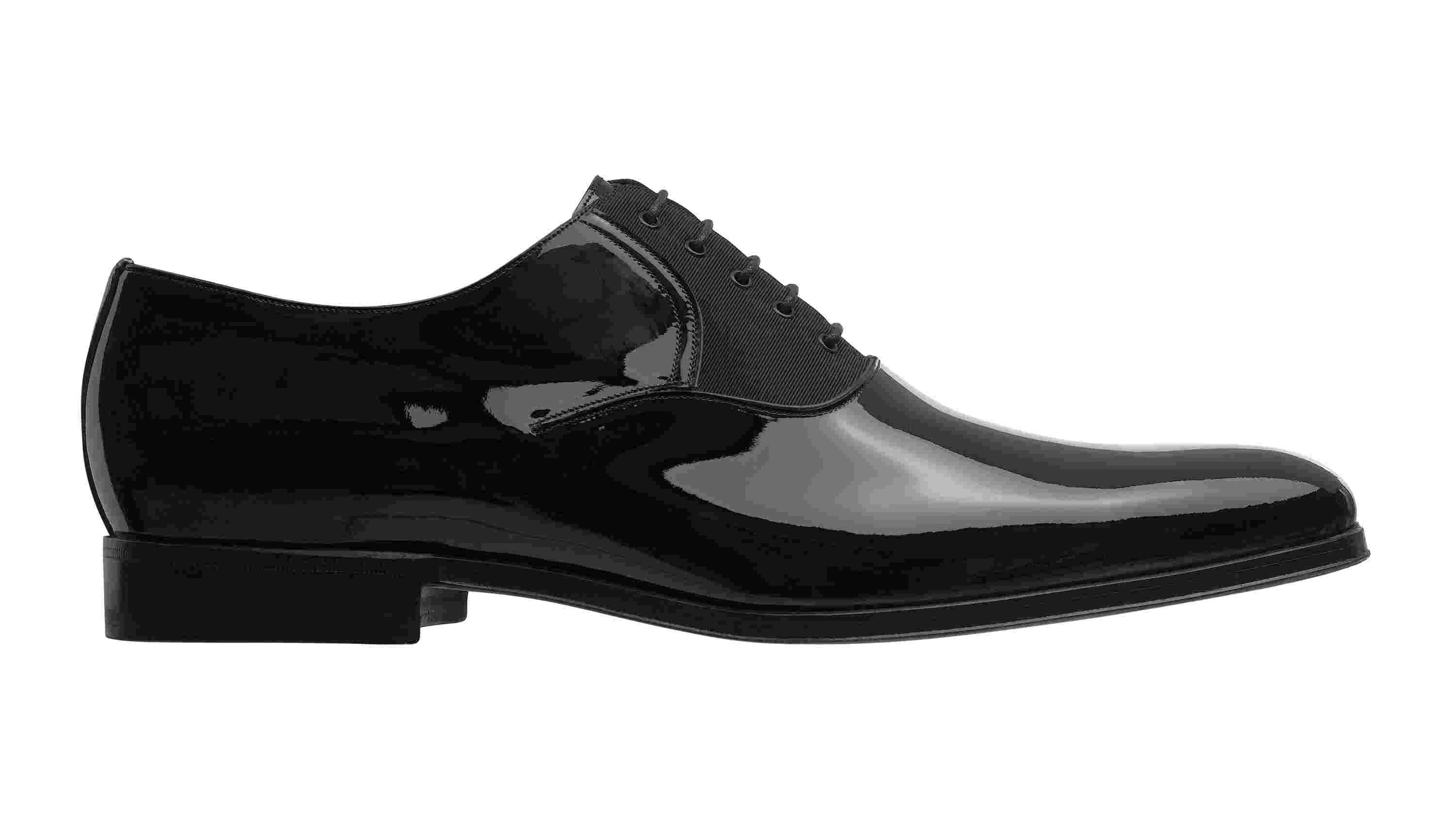 Oxfordshoe in Black Patent Calfskin and Ottoman Canvas
