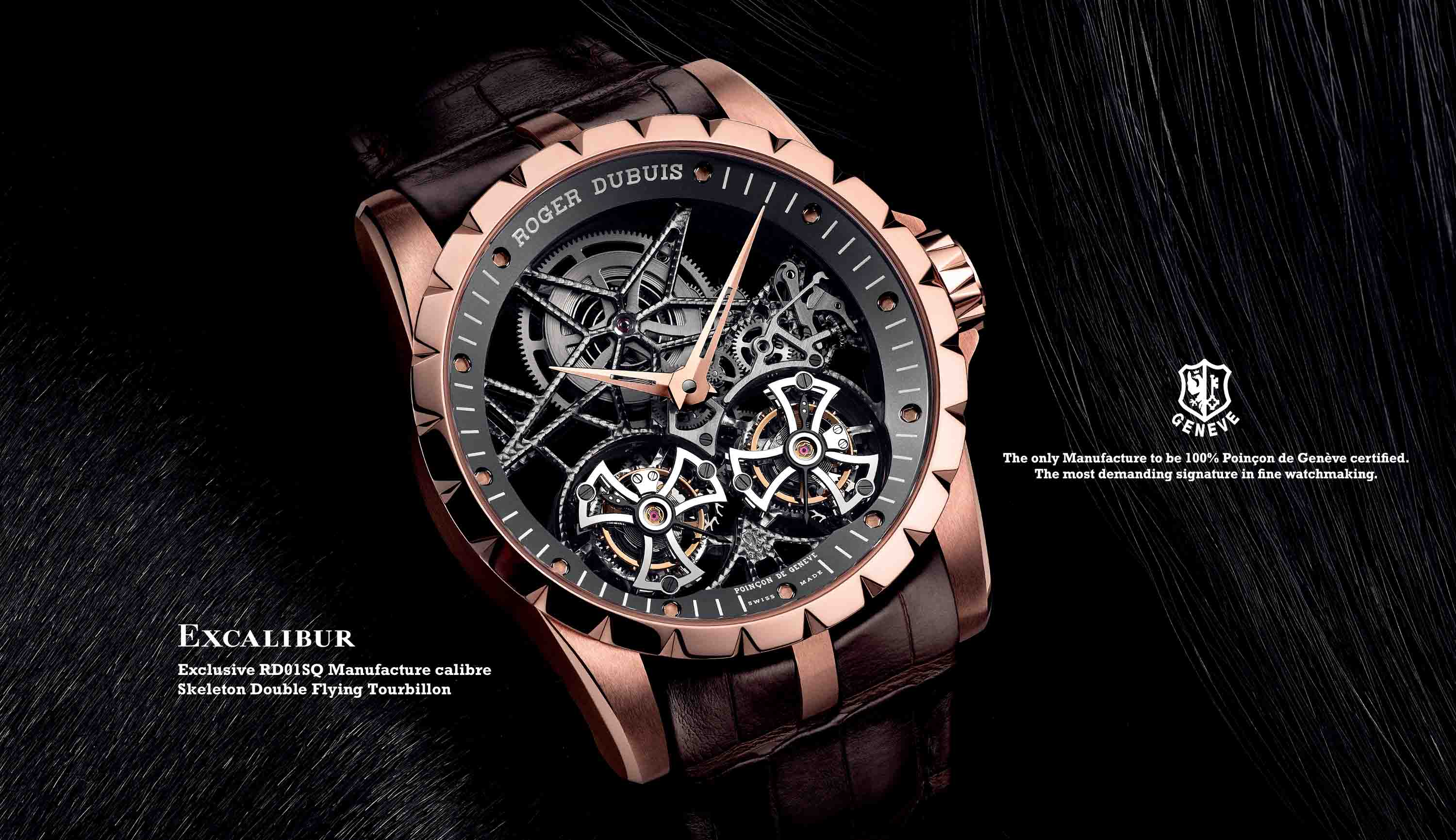Roger Dubuis Excalibur Skeleton Double Flying warna Emas Merah Muda