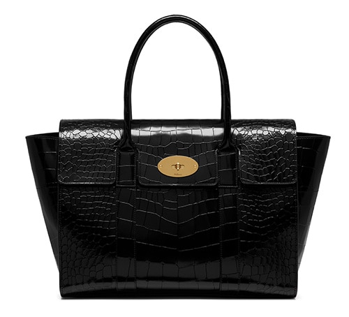 New Bayswater in Black Polished Embossed Croc